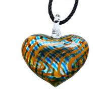 Muránói üveg medál, szív alakú -narancs-kék - barna