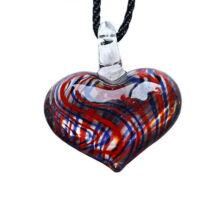 Muránói üveg medál, szív alakú - piros