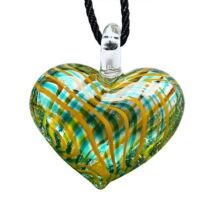 Muránói üveg medál, szív alakú -zöld