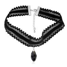 Gótikus csipkés nyaklánc- csepp alakú - fekete