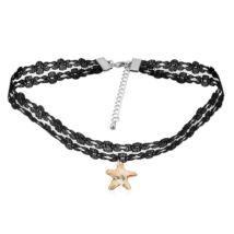 Gótikus csipkés nyaklánc- csillag alakú Swarovski kristállyal- pezsgő