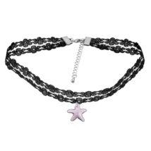 Gótikus csipkés nyaklánc- csillag alakú Swarovski kristállyal- lila