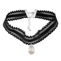 Gótikus csipkés nyaklánc- csepp alakú Swarovski kristállyal- fehér