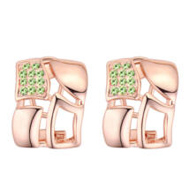 Brilliant square - Swarovski kristályos fülbevaló - zöld