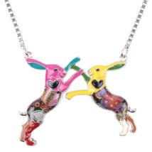 Játszó nyuszik - nyaklánc - színes
