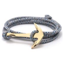 Anchorissime - Anchor horgony karkötő - arany - kék-fehér mintás szürke kötél