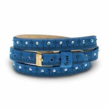 Il MEZZOMETRO -  STRASS-Gold- velúrbőrből készült kristályos karkötő, kék színben