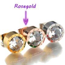 Cserélhető köves, római számos nemesacél fülbevaló, AJÁNDÉK 7 pár, különböző színű cirkóniakővel - rózsaarany
