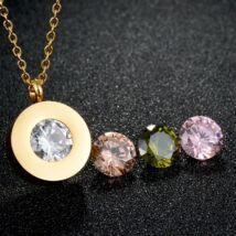 Cserélhető köves nemesacél nyakék, AJÁNDÉK 4 darab, különböző színű cirkóniakővel - arany