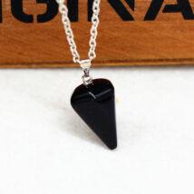 Gúla alakú természetes kőből készült nyaklánc - fekete