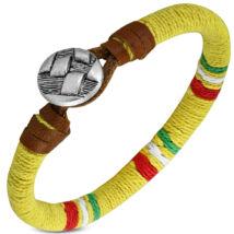 Érme - bőrből és kötélből készült karkötő - citromsárga, színes