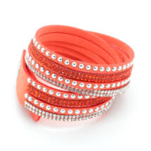 PUNKY  valódi bőr divat karkötő és nyaklánc egyben - narancssárga