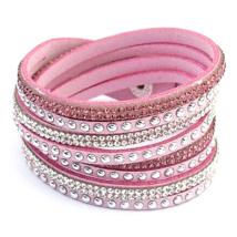 PUNKY  valódi bőr divat karkötő és nyaklánc egyben - rózsaszín