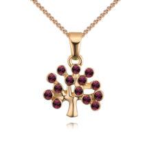 Életfa- rózsaszín- arany kristályos nyaklánc