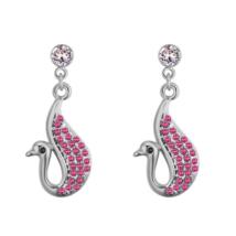 Álmodó hattyú - Swarovski kristályosfülbevaló - ezüst, rózsaszín