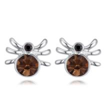 Pókocska - Swarovski kristályos fülbevaló - ezüst, barna