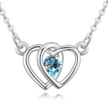 Double heart- világoskék- Swarovski kristályos nyaklánc