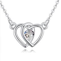 Double heart- fehér - Swarovski kristályos nyaklánc