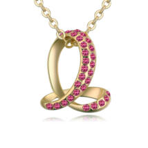 Bent snake- rózsaszín-arany kristályos nyaklánc