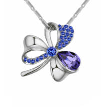 Lótuszvirág- lila- Swarovski kristályos nyaklánc