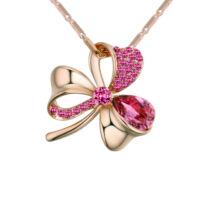 Lótuszvirág- rózsaszín-arany Swarovski kristályos nyaklánc