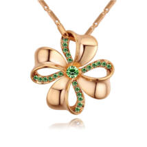 Szerencsevirág - zöld-arany kristályos nyaklánc