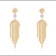 Ezeregy éjszaka -  fehér kristályos fülbevaló- arany