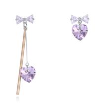 Asymetric - lila - Swarovski kristályos fülbevaló