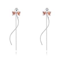 Három szív - Swarovski kristályos variálható fülbevaló - ezüst, borostyán