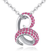 Bent snake- rózsaszín-ezüst kristályos nyaklánc