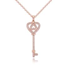 Dream key - Swarovski kristályos nyaklánc - rózsaarany
