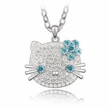 Hello Kitty - Swarovski kristályos nyakék - világoskék