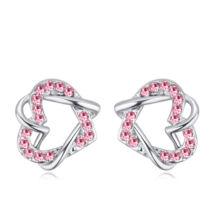 Fonott szív - rózsaszín-Swarovski kristályos - Fülbevaló