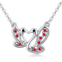 Hattyúpár - kristályos nyaklánc - piros