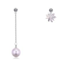 Perle Stellar - fehér -  Cirkónia kristályos és gyöngyös fülbevaló