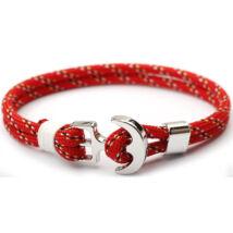 Anchorissime - Anchor horgony karkötő - fehér dísz - dupla szálú piros mintás kötéllel