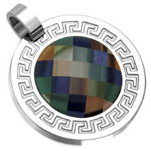 Gravírozható görög kockás motívumú ezüstözött medál