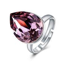 Ragyogó csepp - állítható méretű Swarovski kristályos gyűrű - Light Ametist - rózsaszín