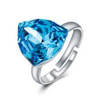 Absztrakt - állítható méretű Swarovski kristályos gyűrű - Blue Zircon - világoskék