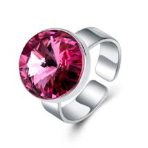 Éber szemek - állítható méretű Swarovski kristályos gyűrű - Rose - rózsaszín