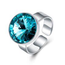 Éber szemek - állítható méretű Swarovski kristályos gyűrű - Capri Blue - kék