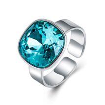 Ékkő - állítható méretű Swarovski kristályos gyűrű - Blue zircon - világoskék