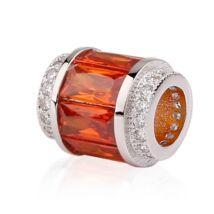 Pandora stílusú ezüstözött medál-Big hole - narancs