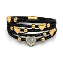Szerelemfolyam -  Swarovski kristályos karkötő - fekete, arany - fehér