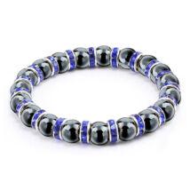 Ezüstös csillogás - természetes kőből fűzött ásványkarkötő kristályrondellákkal - kék-fekete