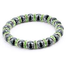 Ezüstös csillogás - természetes kőből fűzött ásványkarkötő kristályrondellákkal - zöld-fekete