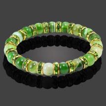 Zen - természetes kőből fűzött ásványkarkötő aranyozott kristályrondellákkal - zöld
