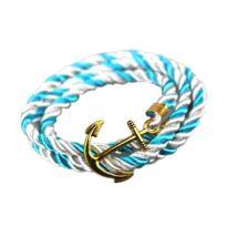 Anchorissime - Anchor horgony karkötő - arany - fehér és világoskék kötéllel