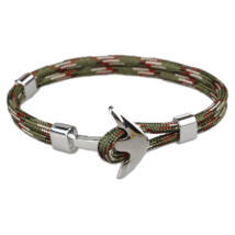 Anchorissime - Anchor horgony karkötő - ezüst- katonai zöld mintás kötéllel