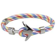 Anchorissime - Anchor horgony karkötő - ezüst- színes, sávos kötéllel